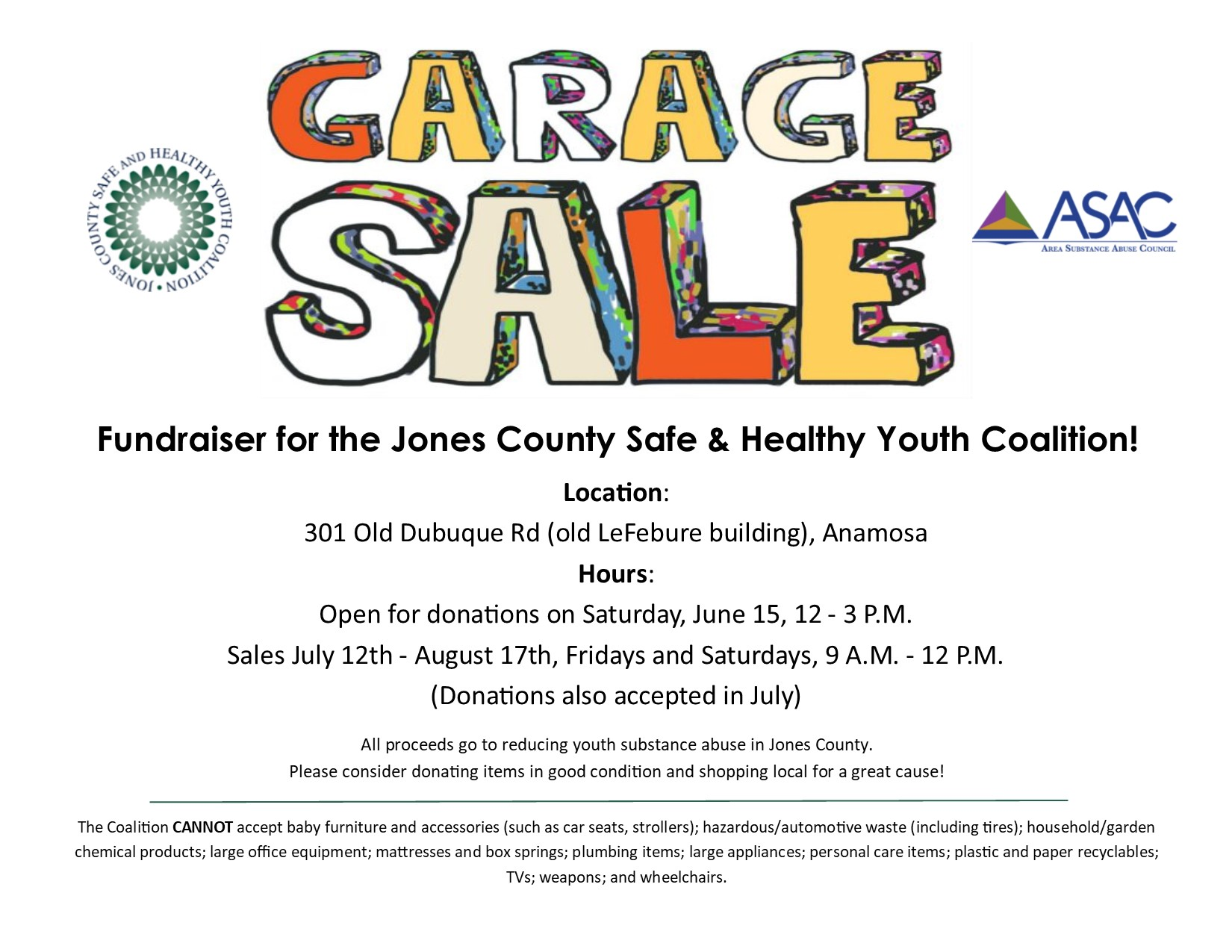 Garage Sale – Jones County Safe and Healthy Youth Coalition